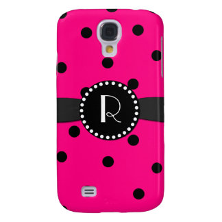 Hot Pink Polka Dot Monogram Samsung Galaxy S4 Galaxy S4 Case