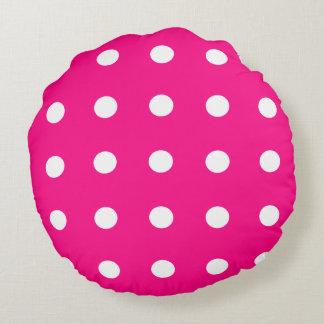 Hot Pink Polka Dot Pattern Round Cushion