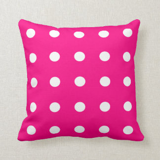 Hot Pink Polka Dot Pattern Throw Pillow