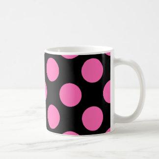 Hot Pink Polka Dots Basic White Mug