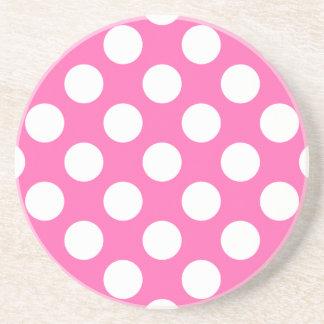 Hot Pink Polka Dots Beverage Coaster