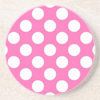 Hot Pink Polka Dots Beverage Coasters