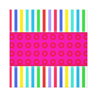Hot Pink Polka Dots Colorful Stripes Pattern Stretched Canvas Print