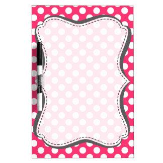 Hot Pink Polka Dots Dry Erase Board