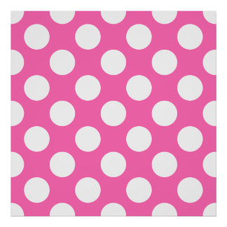 Hot Pink Polka Dots Poster