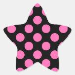 Hot Pink Polka Dots Star Sticker