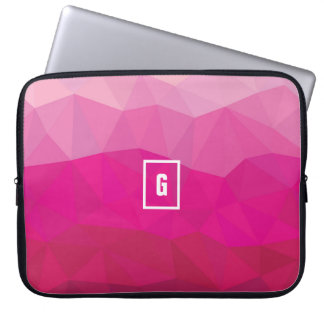 Hot pink polygonal ombre initial laptop sleeve