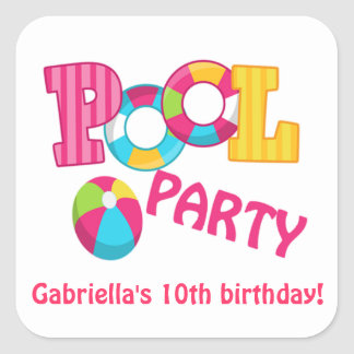 Hot Pink Pool Party Square Sticker