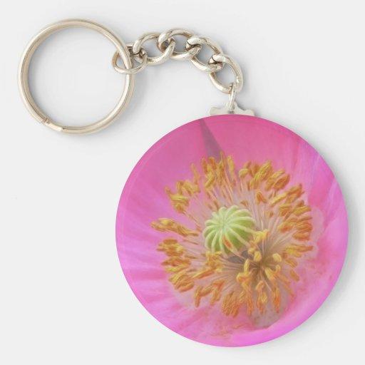 Hot Pink Poppy Flower Key Chain