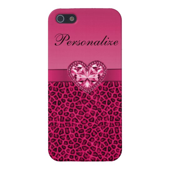 Hot Pink Printed Bling Heart & Leopard Pattern