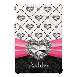Hot Pink Printed Diamond Look Heart Case For The iPad Mini