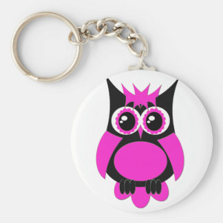 Hot Pink Punk Owl Keychain