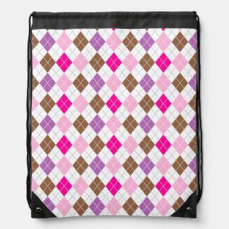 Hot Pink, Purple, Brown, White Argyle Rucksacks