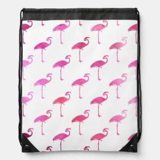 Hot Pink Purple Flamingo Watercolor Tropical Drawstring Backpacks