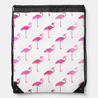 Hot Pink Purple Flamingo Watercolor Tropical Drawstring Bag