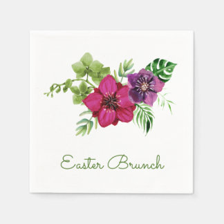 Hot Pink Purple Floral Easter Brunch Disposable Serviettes