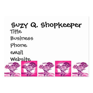 Hot Pink Purple Flower Bouquet in Vase Pop Art Mos Business Card