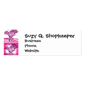Hot Pink Purple Flower Bouquet in Vase Pop Art Mos Pack Of Skinny Business Cards