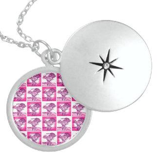 Hot Pink Purple Flower Bouquet in Vase Pop Art Mos Round Locket Necklace