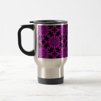 Hot pink purple flowers kaleidoscope stainless steel travel mug