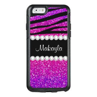 Hot Pink Purple Glitter Black Zebra iPhone 6 Case