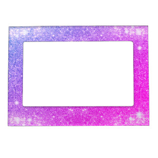 Hot Pink Purple Glitter Sparkle Faux Texture Magnetic Picture Frame