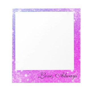 Hot Pink Purple Glitter Sparkle Faux Texture Notepad