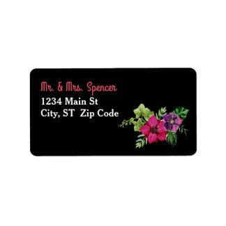 Hot Pink Purple Green Floral Wedding Address Label