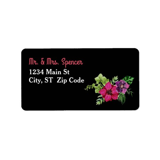 Hot Pink Purple Green Floral Wedding Label
