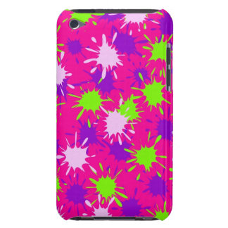 Hot Pink Purple Lime Green Paint Splatters Splotch Barely There iPod Covers