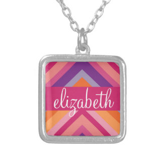 Hot Pink Purple Orange Chevron Pattern Silver Plated Necklace