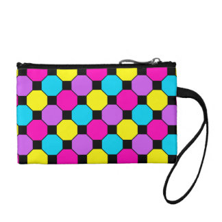 Hot Pink Purple Teal Yellow Black Squares Hexagons Coin Purse