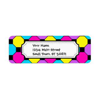 Hot Pink Purple Teal Yellow Black Squares Hexagons Return Address Label