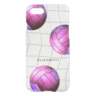 hot pink purple volleyballs over vball net iPhone 8/7 case