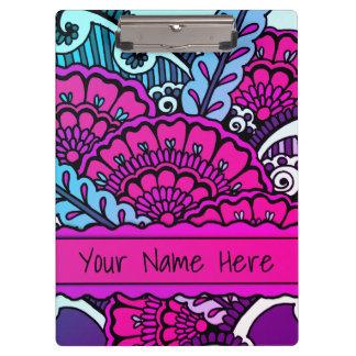 Hot Pink Purple Zen Mandala Art Classroom Name Clipboard