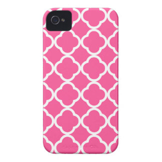Hot Pink Quatrefoil iPhone 4 Case-Mate Case