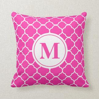 Hot Pink Quatrefoil Modern Monogram Throw Pillow