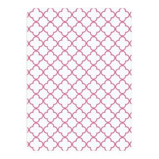 Hot Pink Quatrefoil Pattern 14 Cm X 19 Cm Invitation Card