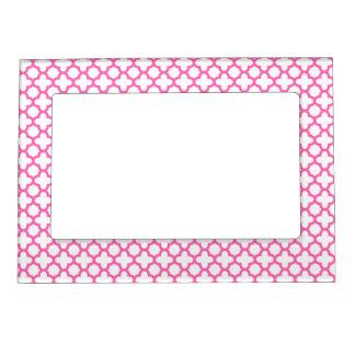 Hot Pink Quatrefoil Pattern Frame Magnet