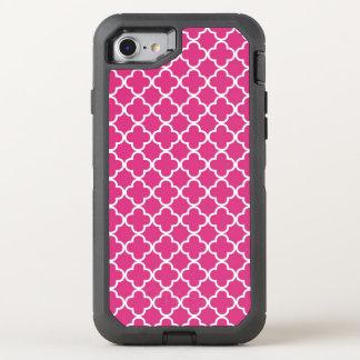 Hot Pink Quatrefoil Pattern OtterBox Defender iPhone 8/7 Case