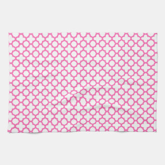 Hot Pink Quatrefoil Pattern Tea Towel