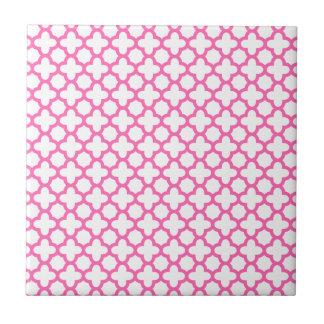 Hot Pink Quatrefoil Pattern Tile