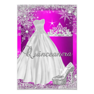 Hot Pink Quinceanera 15th Birthday Party Card