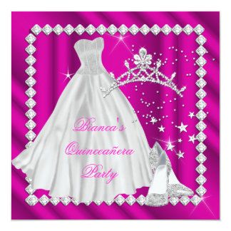"""Hot Pink Quinceanera 15th Diamond Birthday Party 5.25"""" Square Invitation Card"""