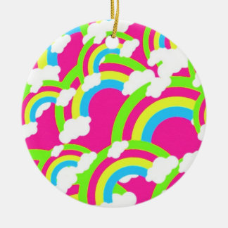 Hot Pink Rainbow Pattern Christmas Ornament