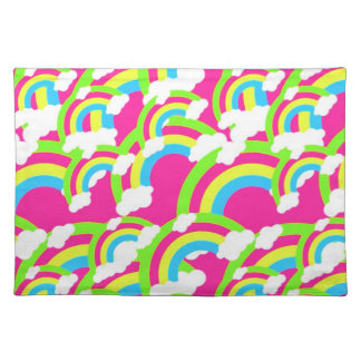 Hot Pink Rainbow Pattern Placemat