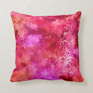 Hot Pink Red and Magenta Abstract Pattern Cushion