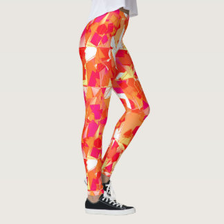 Hot Pink, Red and Peach Modern Abstract Leggings