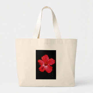Hot Pink Red Hibiscus flower on Black Canvas Bags
