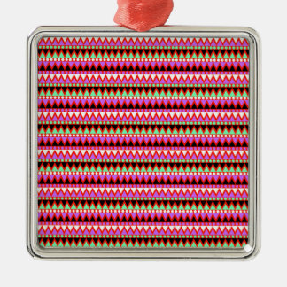 Hot Pink Red Mint and Black Tribal Style Pattern Christmas Ornament